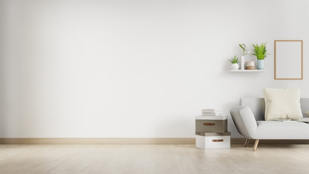 Binnenlandse woonkamer met witte bank en blinde muur met copyspace. 3d-weergave