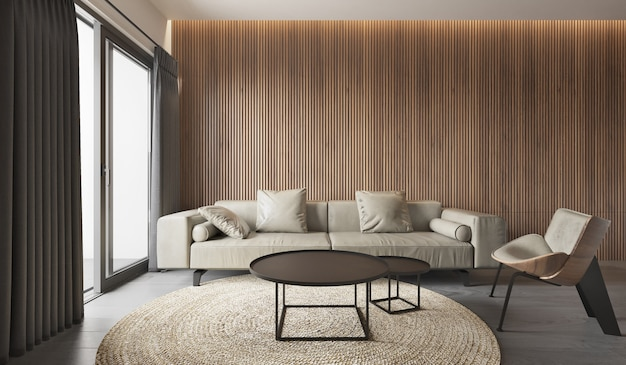 Binnenlandse woonkamer moderne stijl, grijze bank met houten paneelpatroon