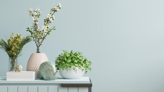 Binnenmuur met groene plant en plank. 3d-weergave