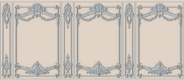 Binnenmuur met molding 3d illustratie naadloos patroon