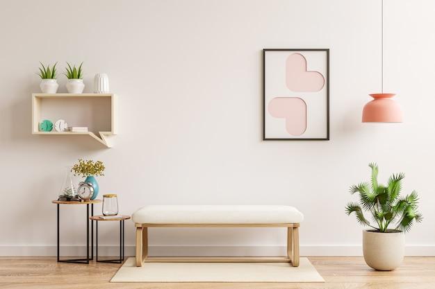 Binnenmuurmodel in woonkamer heeft muji-stoel en decoratie, 3d-rendering
