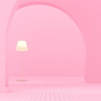 Binnenruimte met boogmuur en lamp.