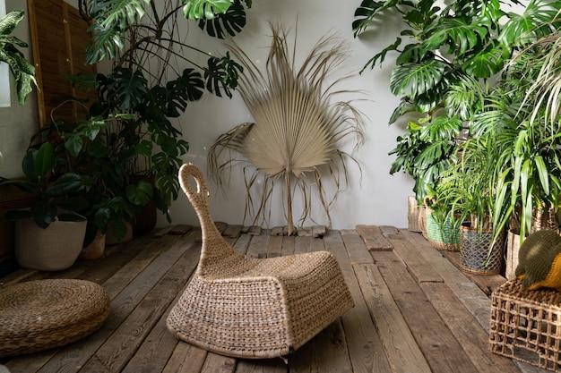 Binnentuin stijlvolle woonkamer met rieten meubels en kamerplanten in manden en houten vloer
