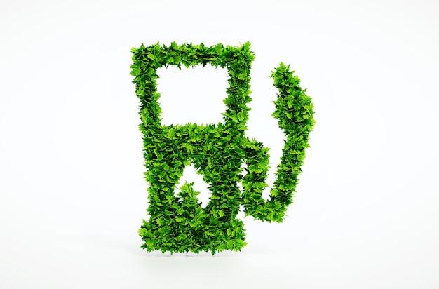 Biobrandstof tankstation geïsoleerd op wit. 3d illustratie.