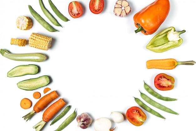 Biologisch voedsel frame achtergrond. plat lag, bovenaanzicht, kopie ruimte. gezond eten concept.