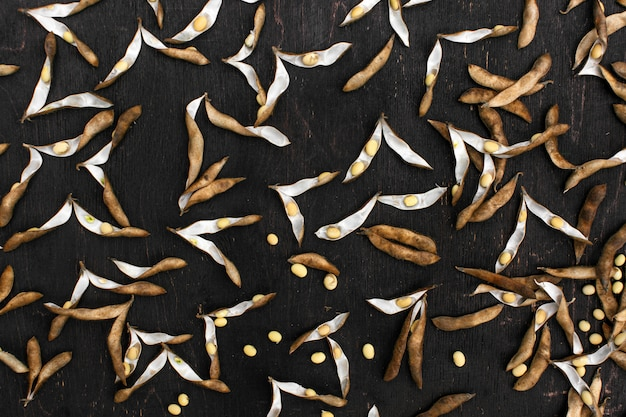 Biologisch voedsel. sojadieet. soja zaden op de keukentafel
