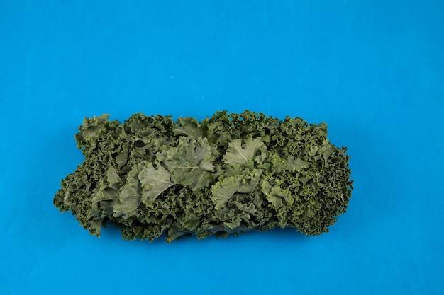 Biologische boerenkool (italiaanse boerenkool, toscaanse boerenkool, dinosauruskool, lacinato). koolbladeren zijn het hoofdingrediënt in de gezonde japanse drank aojiru.