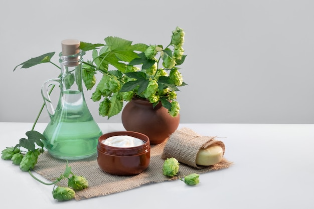 Biologische cosmetica, natuurlijke handgemaakte cosmetica gemaakt van hop.