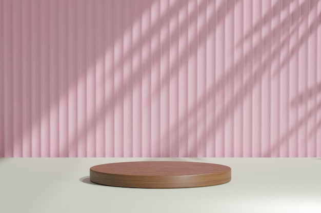 Biologische cosmetische display productstandaard, bruin hout rond cilinderpodium op roze muurachtergrond met zonlichtschaduw. 3d-rendering illustratie