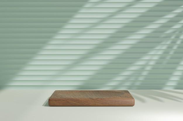 Biologische cosmetische display productstandaard, bruin houten kist staan podium op groene muur achtergrond met zonlicht schaduw. 3d-rendering illustratie