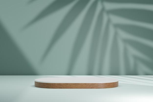 Biologische cosmetische display productstandaard, wit bruin hout ronde cilinder podium op groene muur achtergrond met zonlicht schaduw. 3d-rendering illustratie