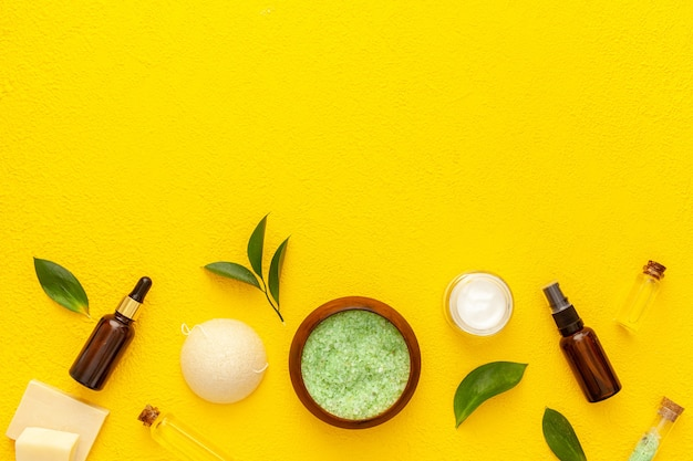 Biologische cosmetische set met thee-olijfblaadjes en zeezout