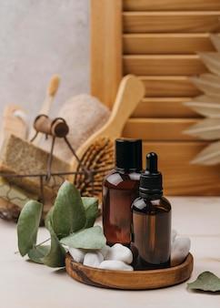 Biologische lichaamsolie en haarborstel
