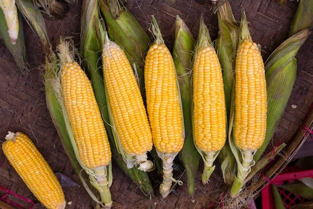 Biologische maïs te koop op een lokale boerenmarkt