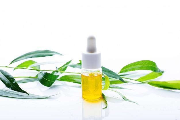 Biologische olie met groene bladeren