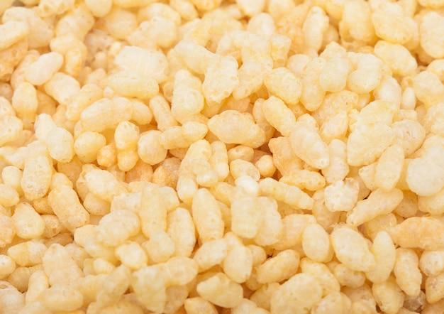 Biologische verse granen granola rijst vlokken macro textuur