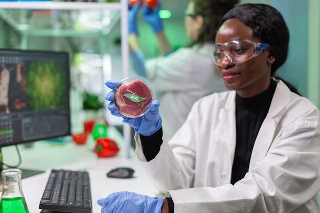 Bioloog-onderzoeker kijkt naar plantaardige rundvleesvervanger voor vegetarische mensen