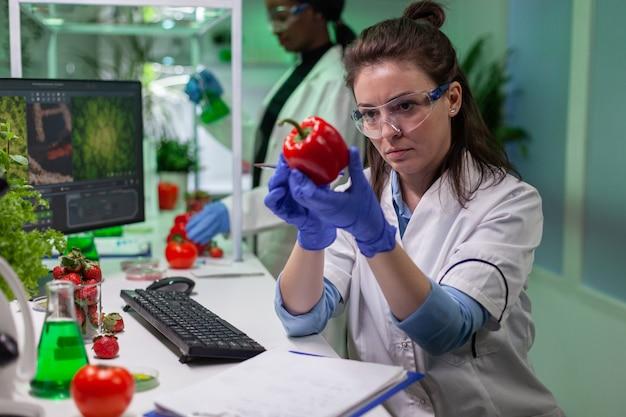 Bioloog vrouw onderzoekt peper schrijven microbiologie medische expertise op notitieblok voor het analyseren van landbouw