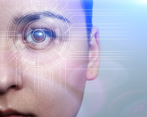 Biometrie concept. gezichtsherkenningssysteem. gezichtsherkenning. irisherkenning.