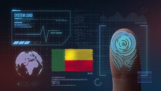 Biometrisch identificatie-systeem voor vingerafdrukken. benin nationaliteit