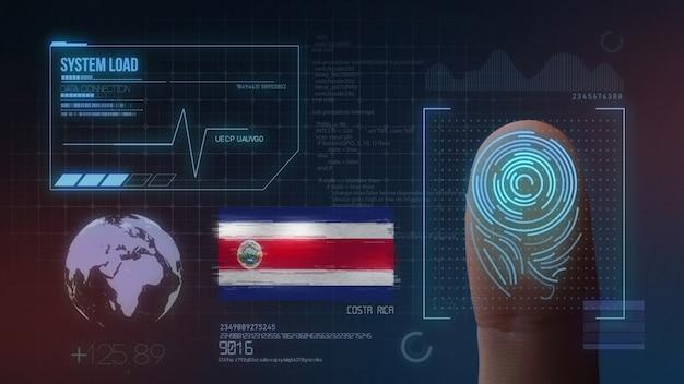 Biometrisch identificatie-systeem voor vingerafdrukken. costa rica nationaliteit