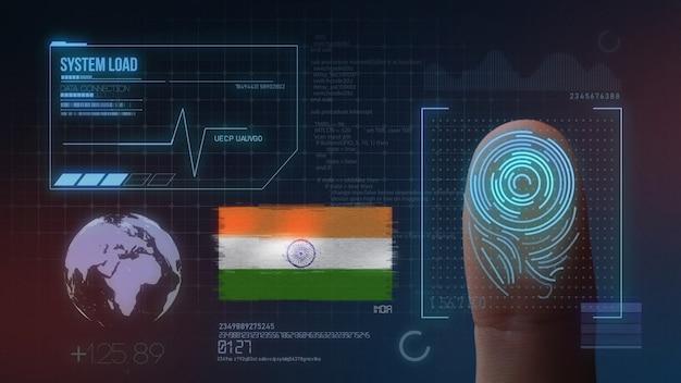 Biometrisch identificatie-systeem voor vingerafdrukken. india nationaliteit