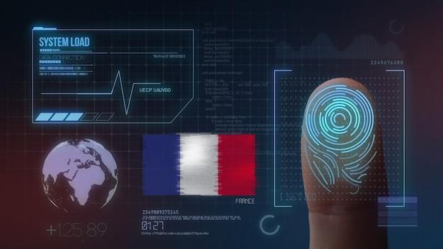 Biometrisch identificatie-systeem voor vingerafdrukken. nationaliteit van frankrijk