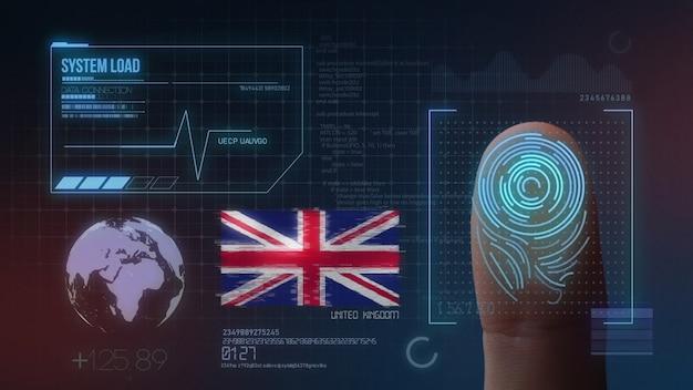 Biometrisch identificatie-systeem voor vingerafdrukken. nationaliteit van het verenigd koninkrijk