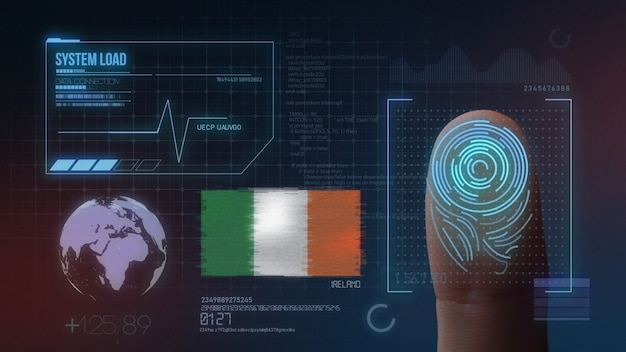 Biometrisch identificatie-systeem voor vingerafdrukken. nationaliteit van ierland