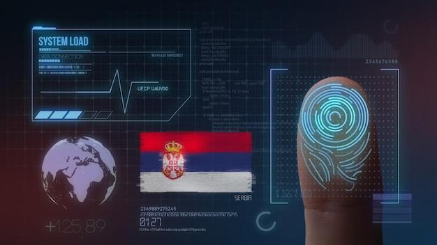 Biometrisch identificatie-systeem voor vingerafdrukken. nationaliteit van servië