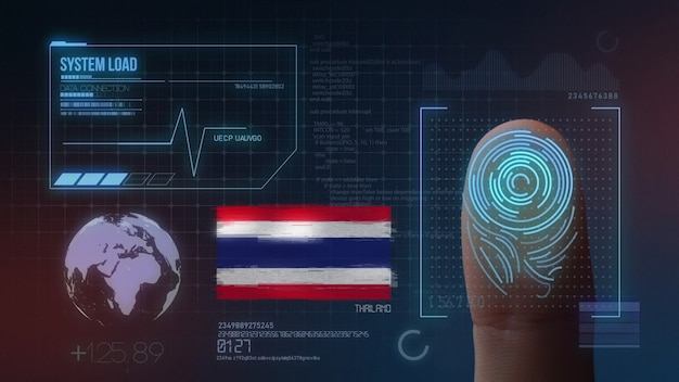Biometrisch identificatie-systeem voor vingerafdrukken. thailand nationaliteit