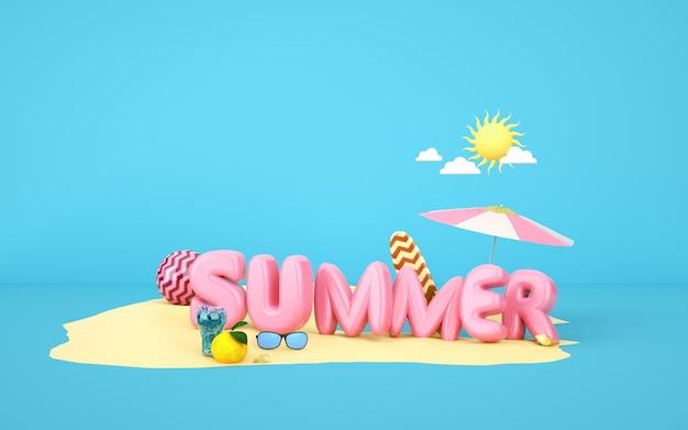 Bioscoop 4d-weergave van de zomerachtergrond op het zandstrand