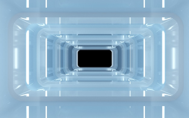 Bioscoop 4d-weergave van een vierkante tunnelachtergrond met neonblauw licht voor een weergavemodel