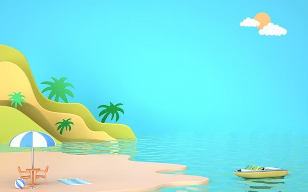 Bioscoop 4d-weergave van zomerachtergrond met uitzicht op zeewater