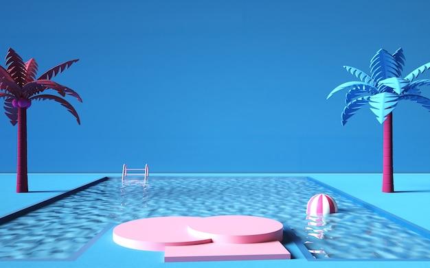 Bioscoop 4d-weergave van zomerachtergrond met zwembad en podium voor reclameproduct