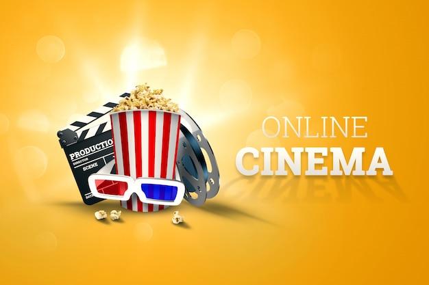 Bioscoop, bioscoopattributen, bioscopen, films, online weergave, popcorn en glazen.