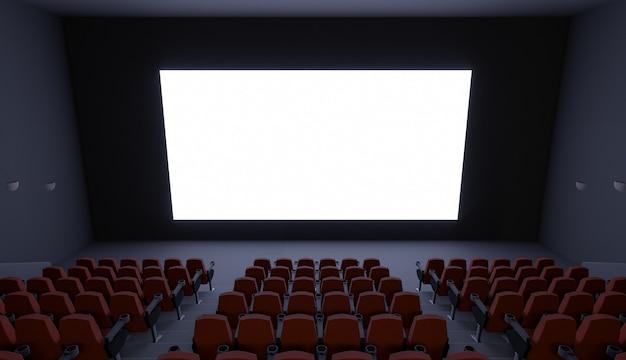 Bioscoop zonder mensen met een leeg scherm. mockup. 3d-afbeelding