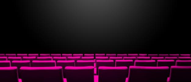 Bioscoopbioscoop met roze stoelenrijen en een zwarte exemplaarruimte