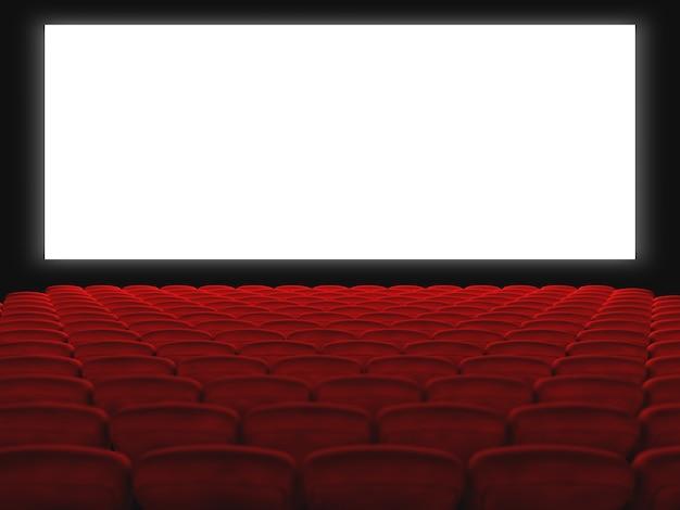 Bioscoophal met rode stoelen en wit scherm. 3d render