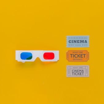 Bioscoopkaartjes en 3d bril