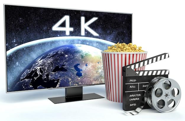 Bioscoopklep, popcorn en tv