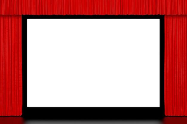 Bioscoopscherm met open rode gordijn extreme close-up. 3d-rendering