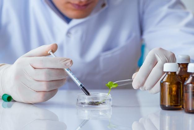 Biotechnologiewetenschapper die in het laboratorium werkt