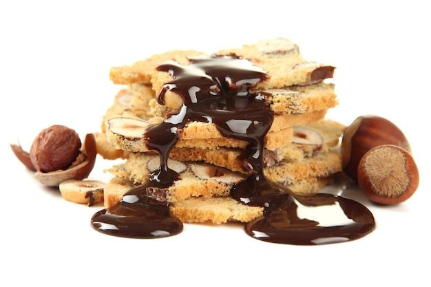 Biscotti met noten, op wit
