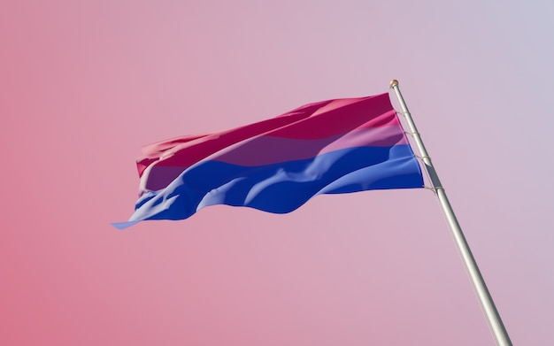 Bisexual pride flag op gekleurde achtergrond