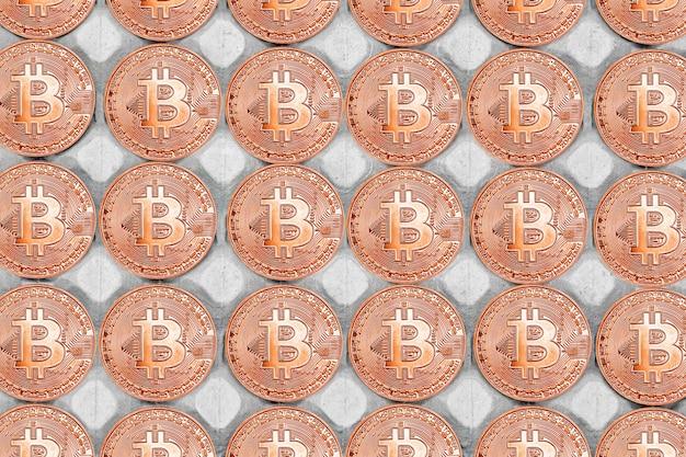 Bitcoin achtergrond. bitcoins en nieuw virtueel geldconcept. bitcoin is een nieuwe valuta.