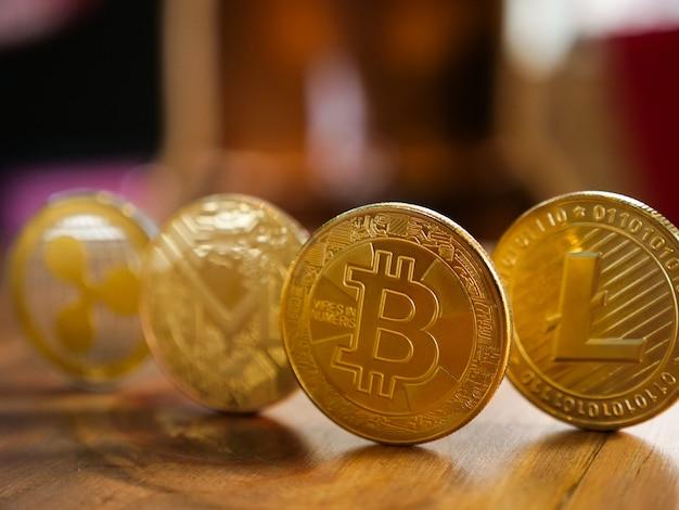 Bitcoin achtergrond met copyspace. wisselgeld cryptocurrency concept.