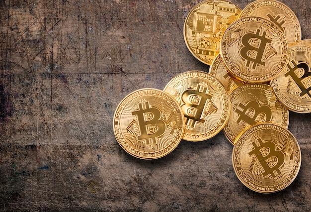 Bitcoin. conceptproductie van cryptovaluta, mijncryptografie.