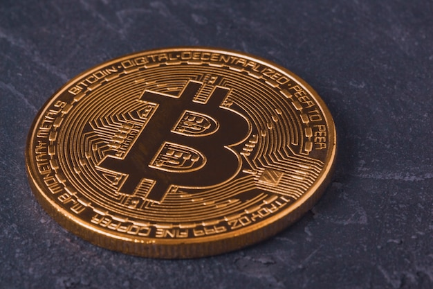 Bitcoin cryptocurrency close-up mijnbouw