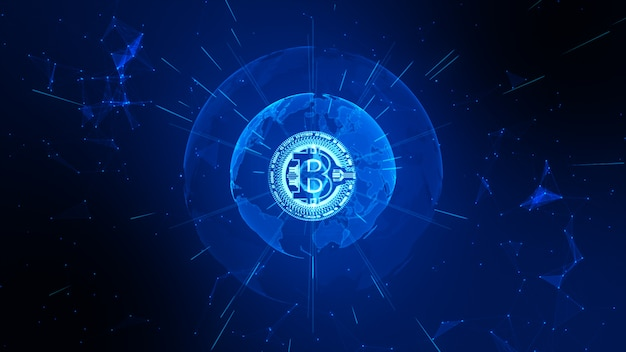Bitcoin cryptocurrency in digital cyberspace. technology network money exchange.